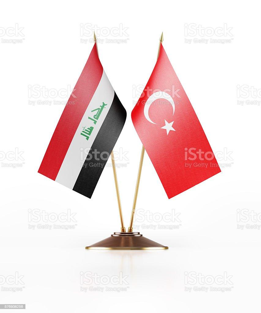 Miniature Flag of Iraq and Turkey stock photo