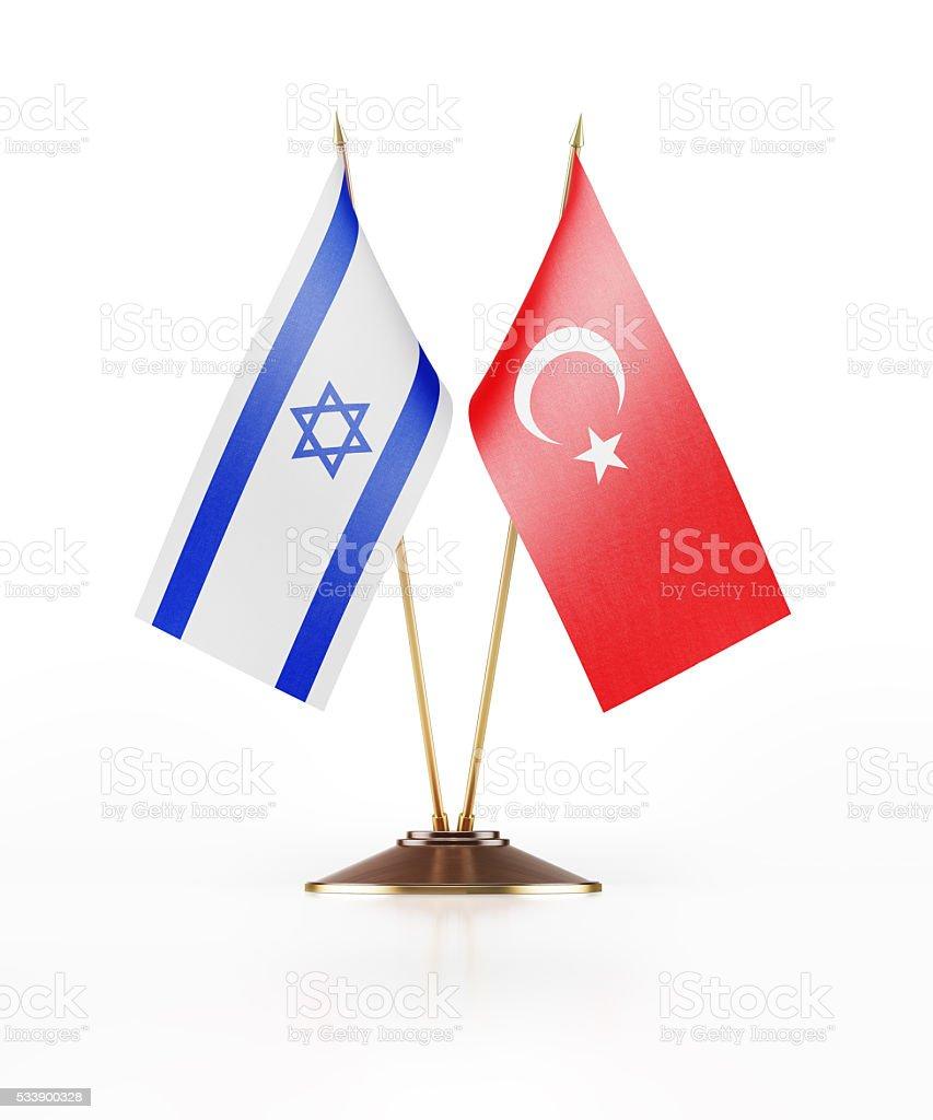 Miniature Flag of Israel and Turkey stock photo