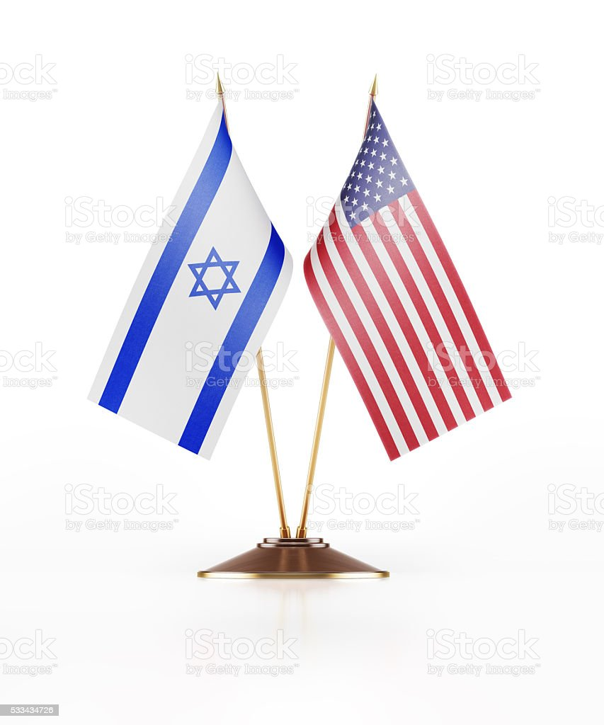 Miniature Flag of Israel and USA stock photo