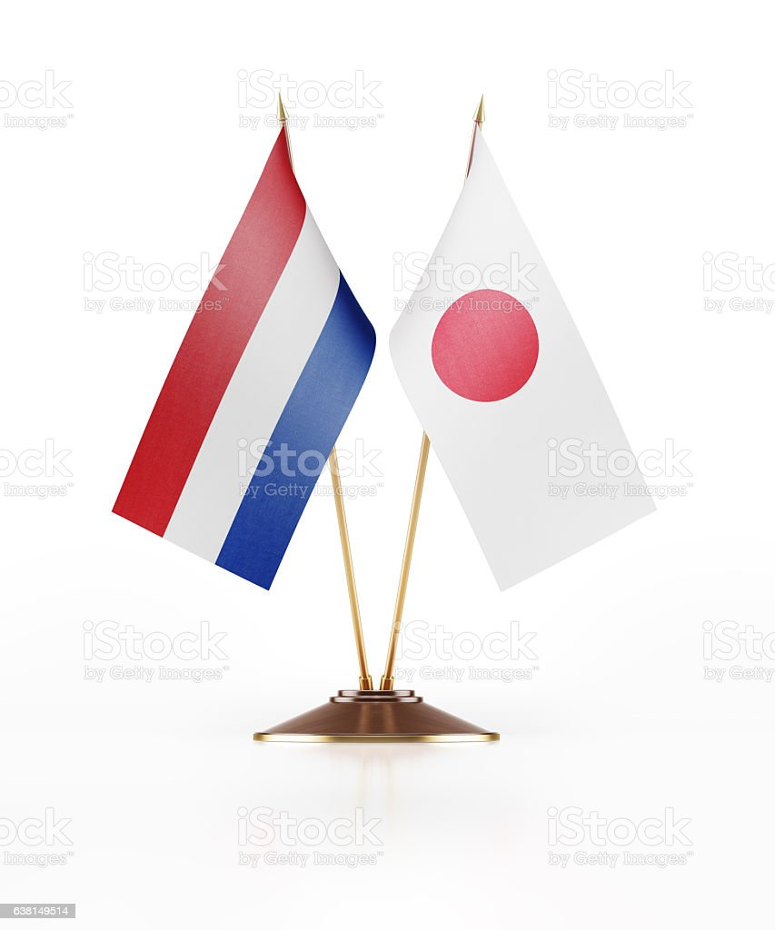 Miniature Flag  of Japan and Holland stock photo