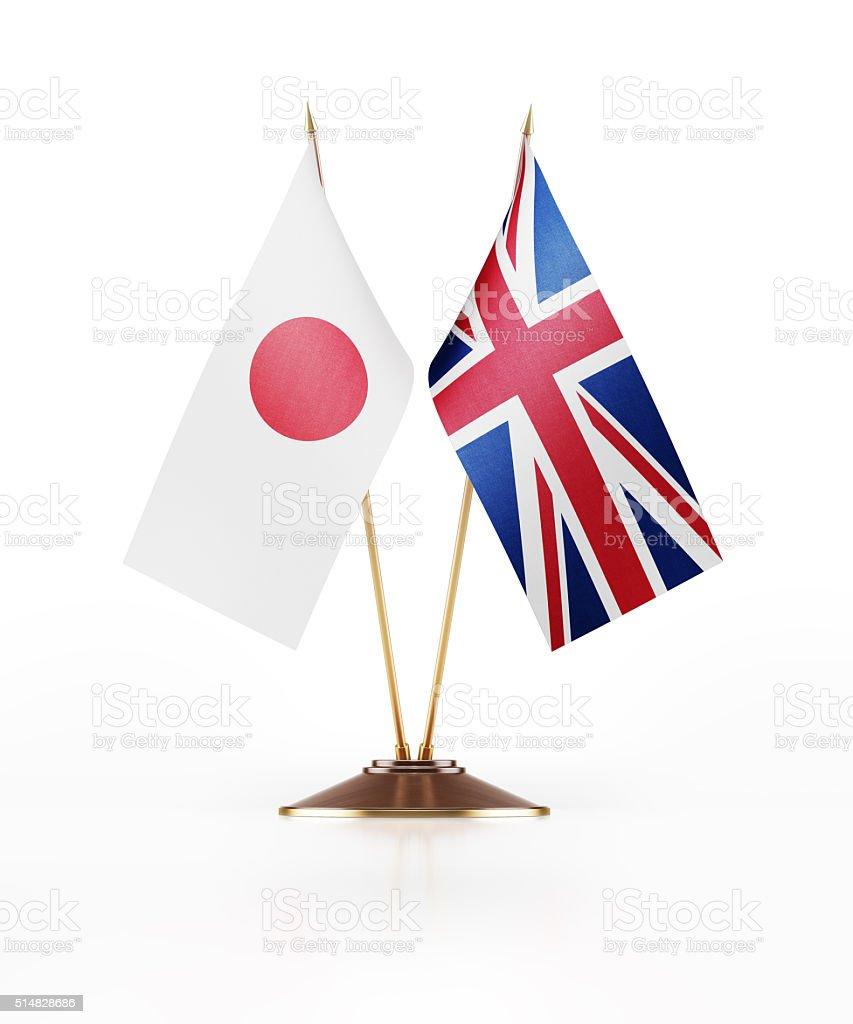 Miniature Flag of Japan and United Kingdom stock photo