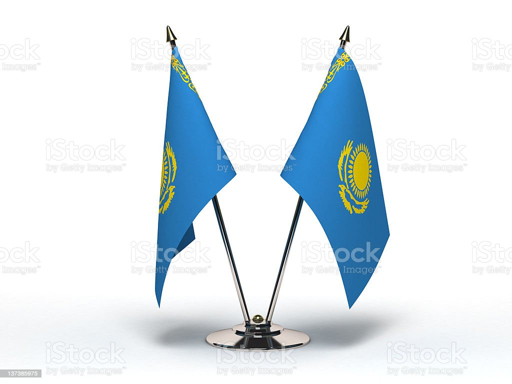 Miniature Flag of Kazakhstan (Isolated) royalty-free stock photo
