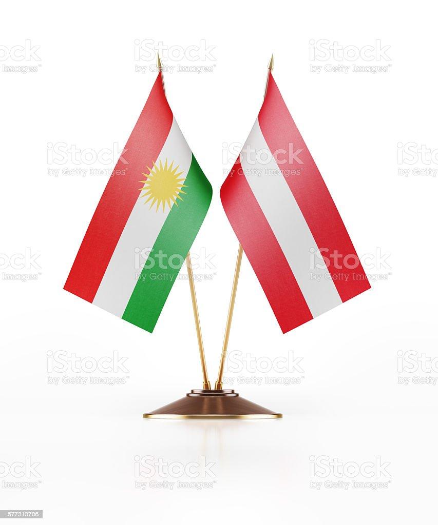 Miniature Flag of Kurdistan and Austria stock photo