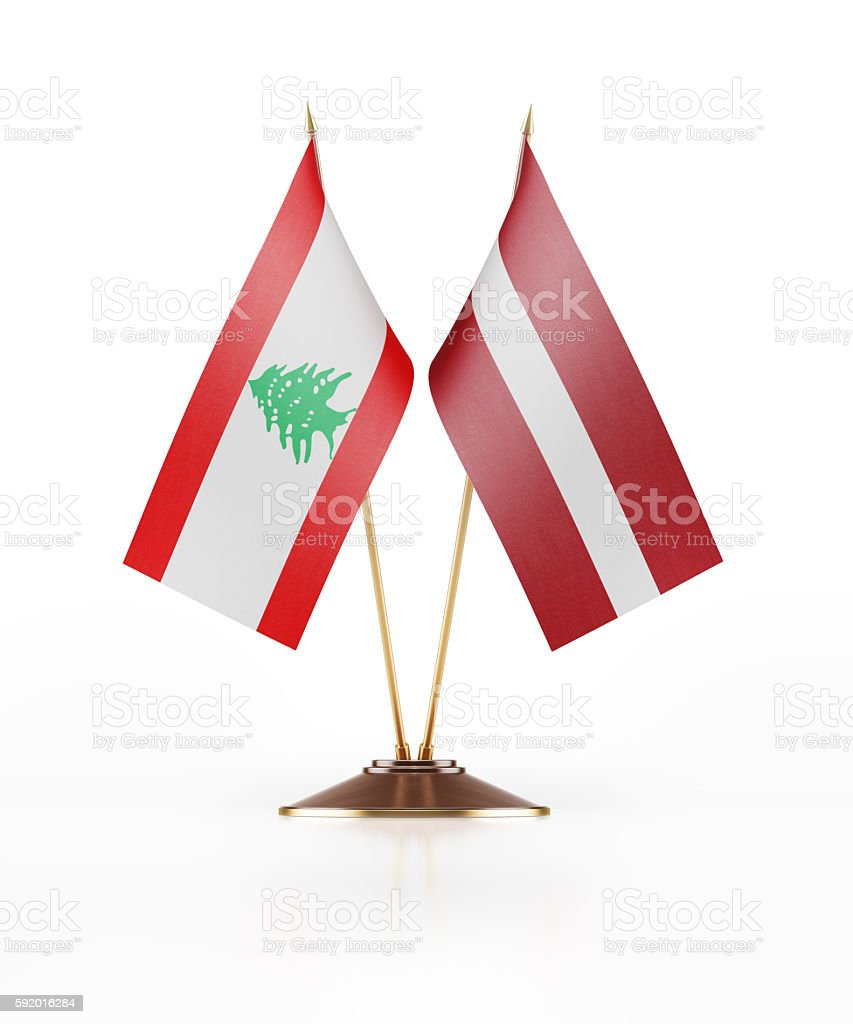Miniature Flag of Lebanon and Latvia stock photo