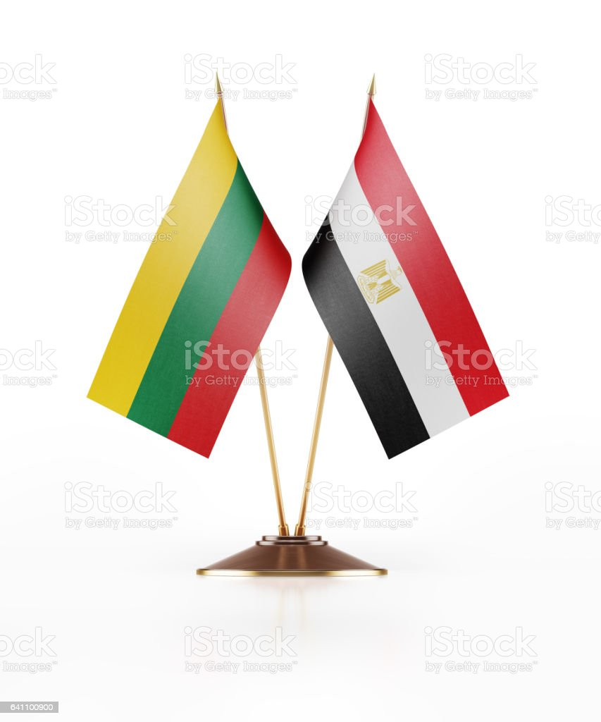 Miniature Flag of Lithuania and Egypt stock photo