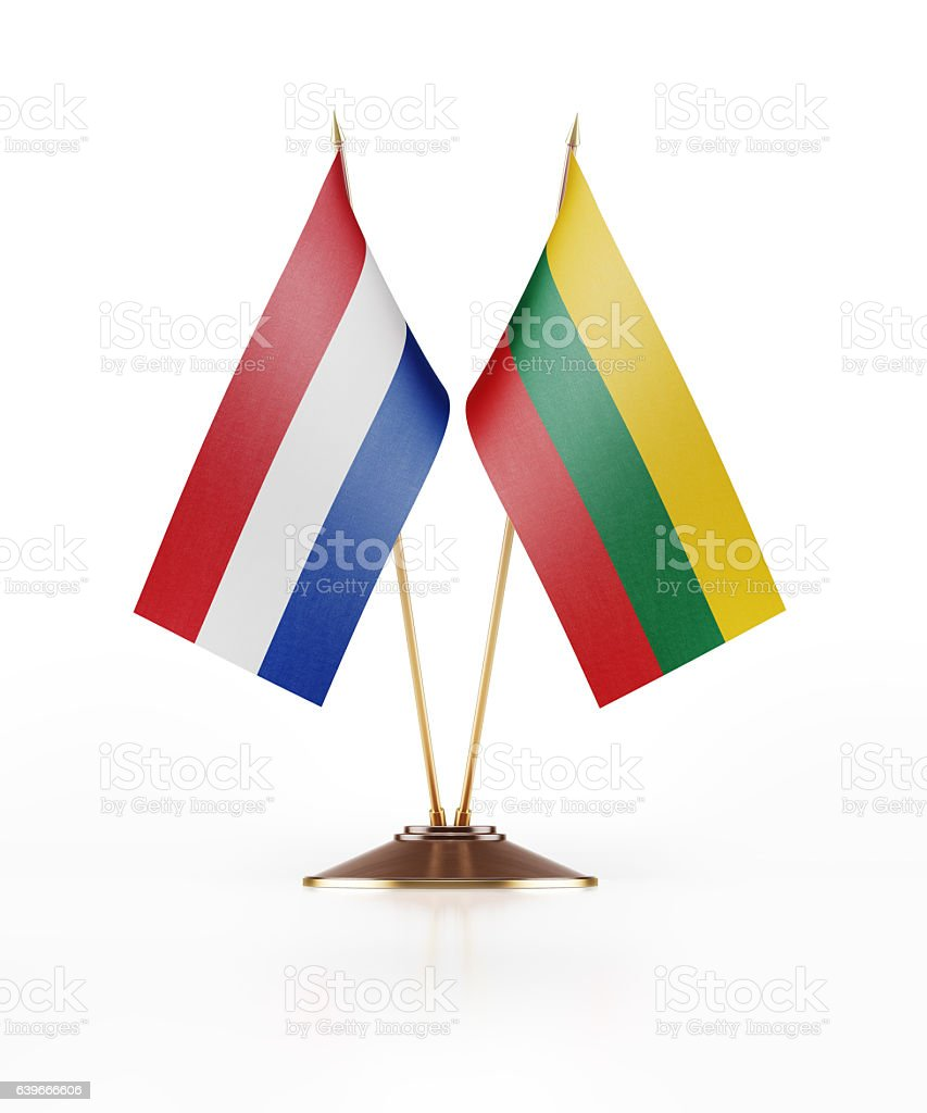 Miniature Flag  of Lithuania and Holland stock photo