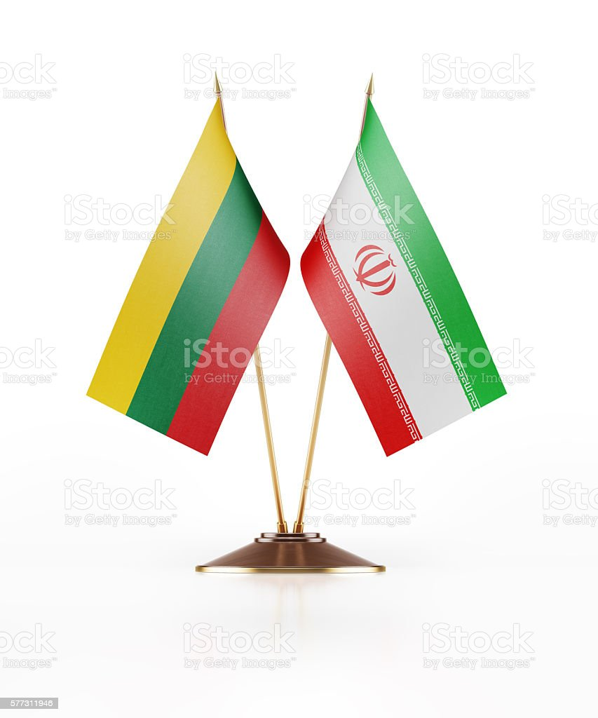 Miniature Flag of Lithuania and Iran stock photo