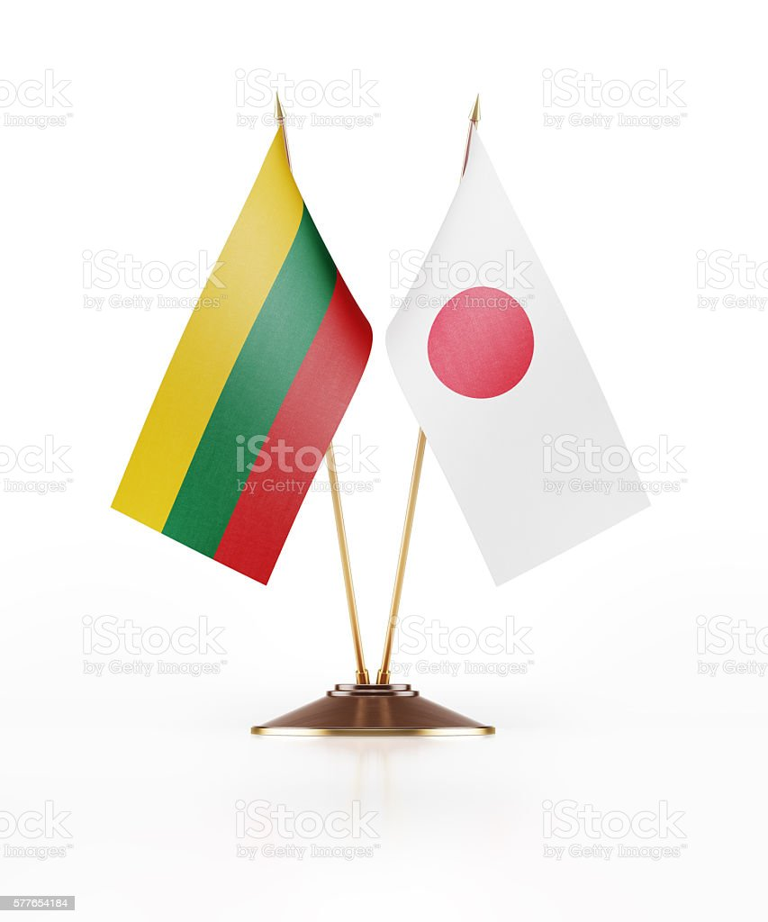 Miniature Flag of Lithuania and Japan stock photo