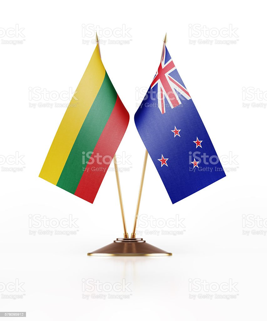 Miniature Flag of Lithuania and New Zealand stock photo