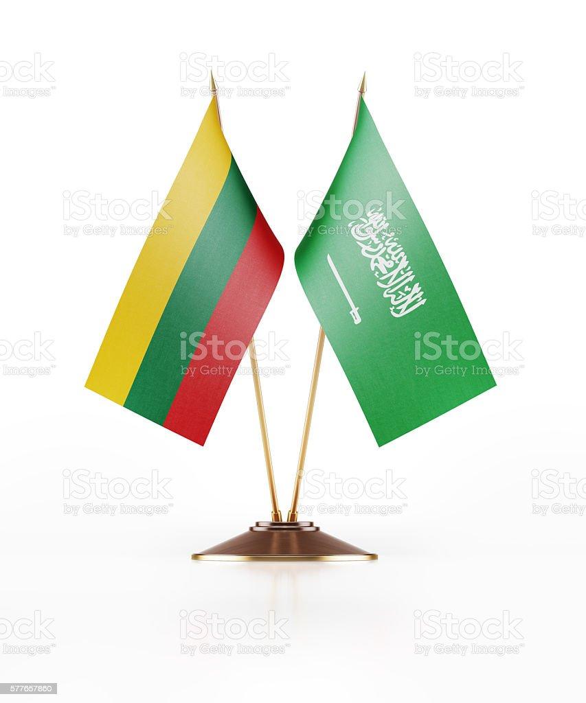 Miniature Flag of Lithuania and Saudi Arabia stock photo