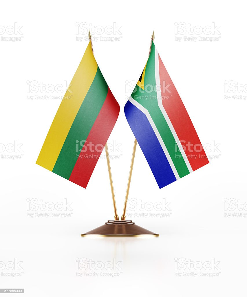 Miniature Flag of Lithuania and South Africa stock photo