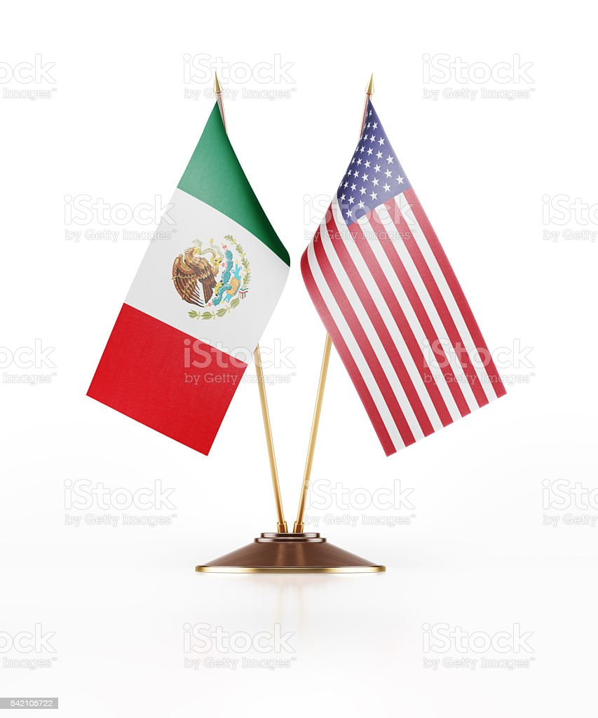 Miniature Flag of Mexico and United States of America stock photo