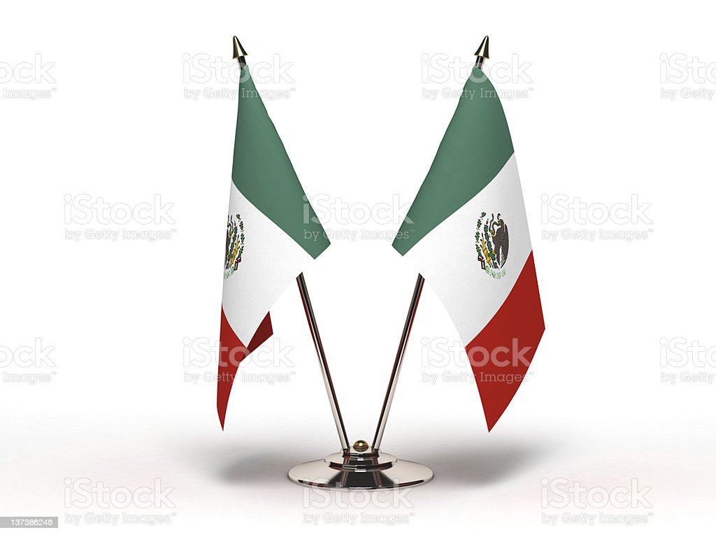 Miniature Flag of Mexico (Isolated) stock photo