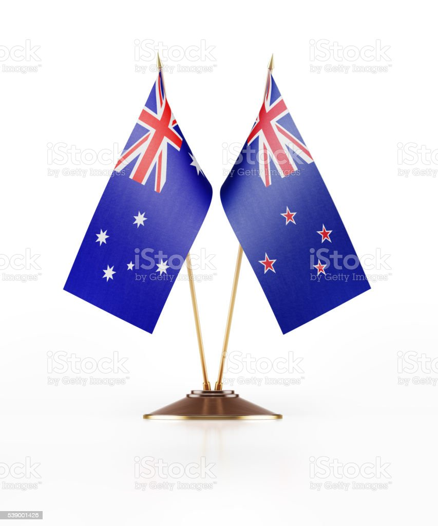 Miniature Flag of New Zealand and Australia stock photo