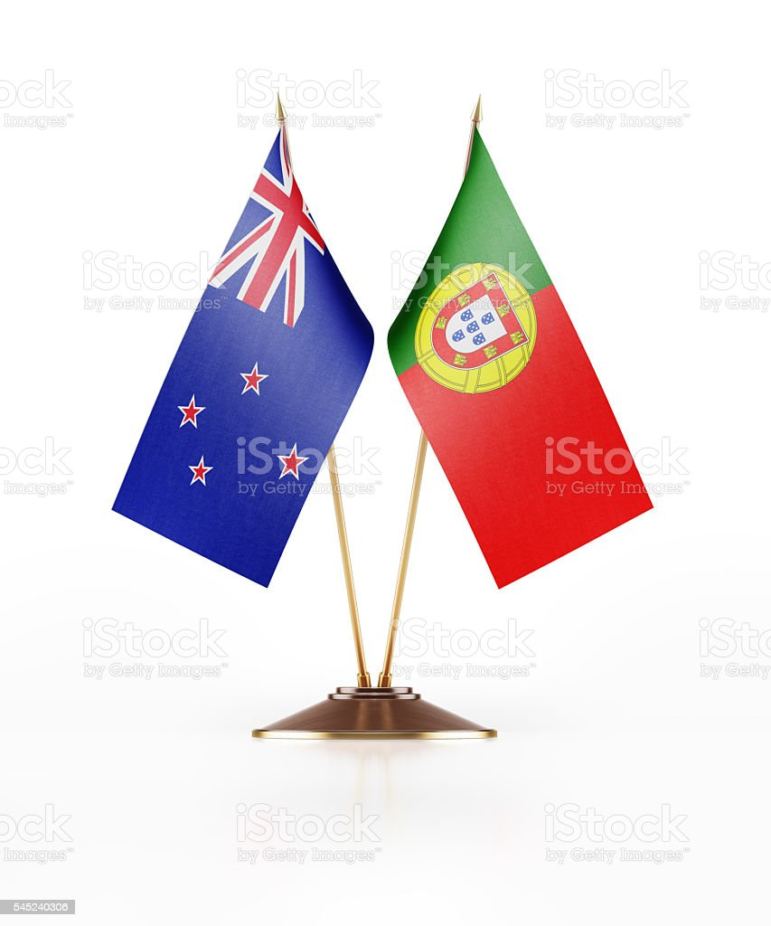 Miniature Flag of New Zealand and Portugal stock photo