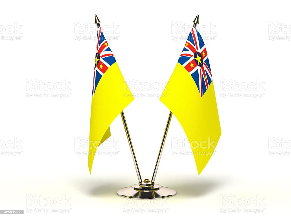 Miniature Flag of Niue Island stock photo