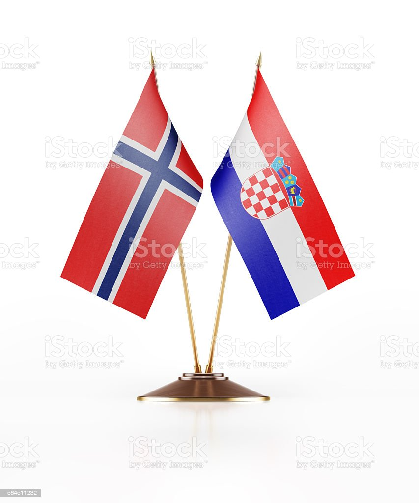 Miniature Flag of Norway and Croatia stock photo