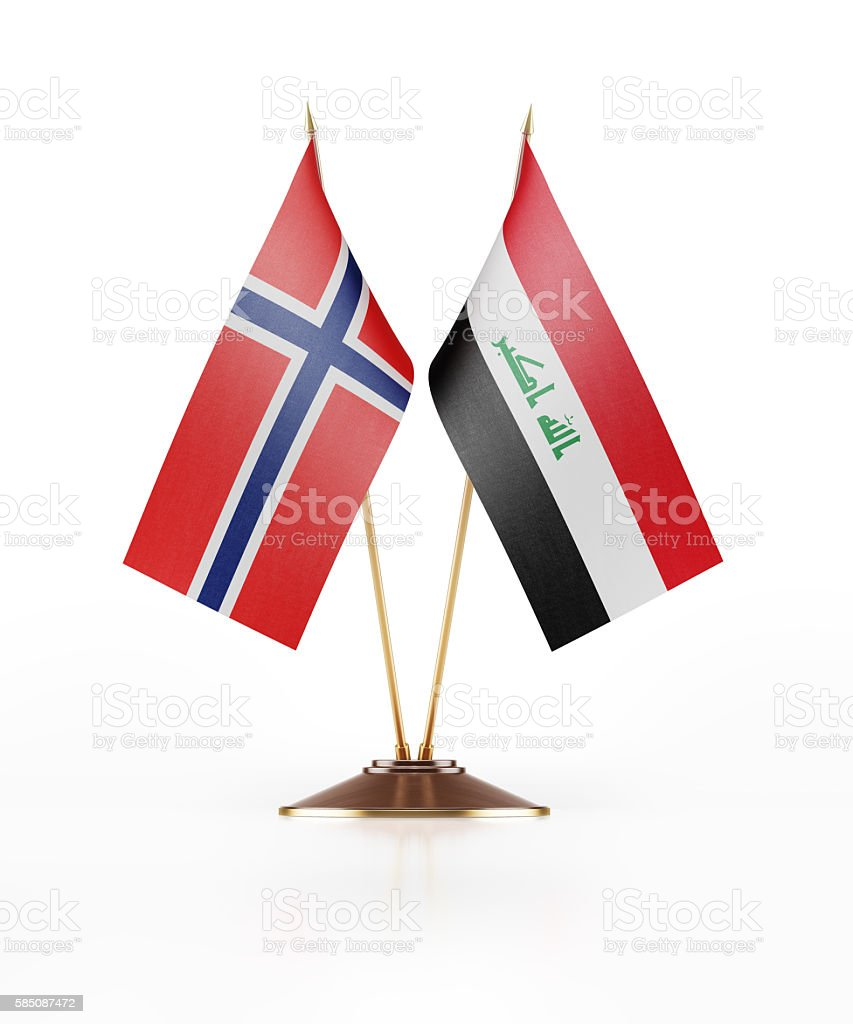 Miniature Flag of Norway and Iraq stock photo
