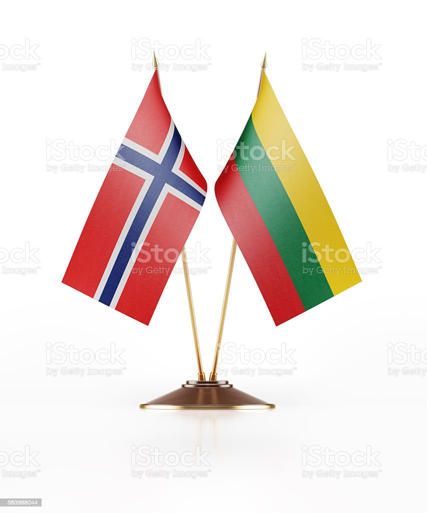 Miniature Flag of Norway and Lithuania stock photo