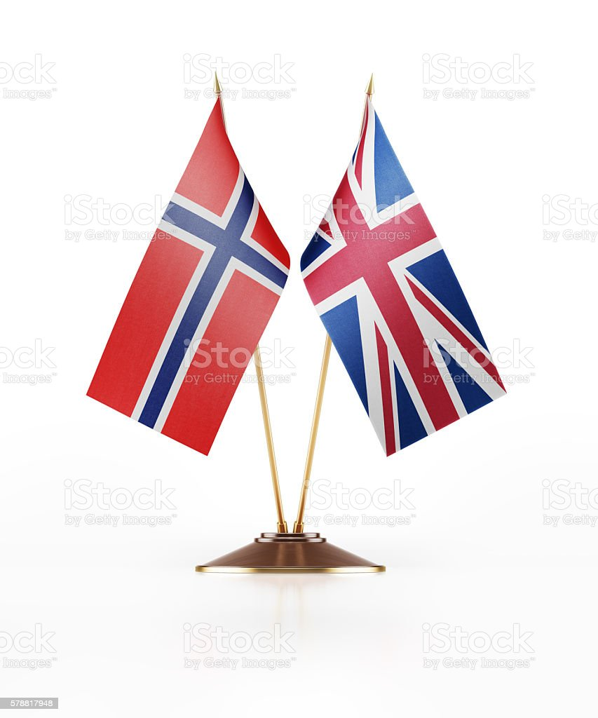 Miniature Flag of Norway and United Kingdom stock photo