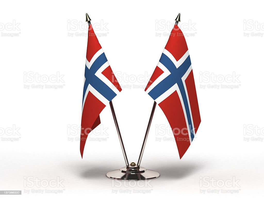 Miniature Flag of Norway (Isolated) stock photo