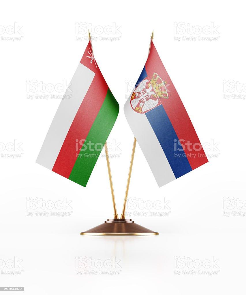 Miniature Flag of Oman and Serbia stock photo