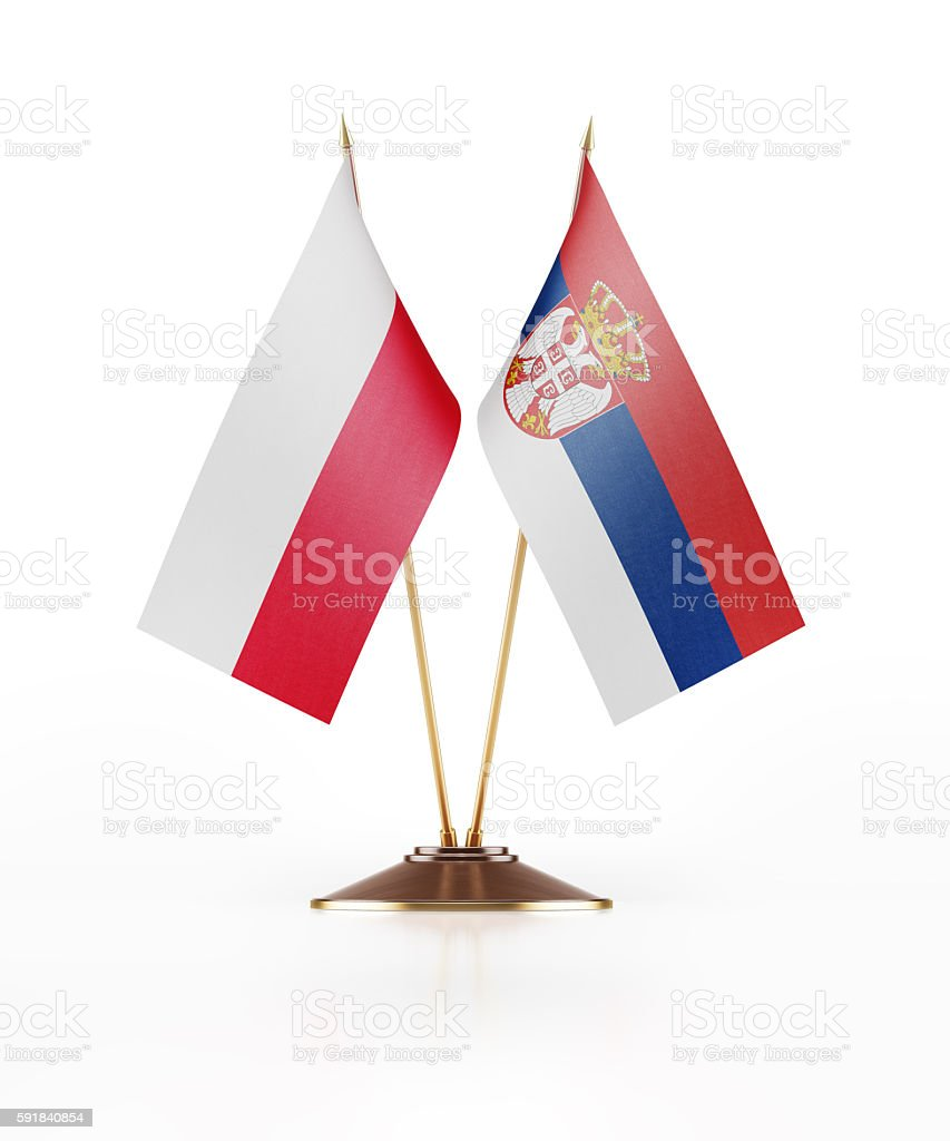 Miniature Flag of Poland and Serbia stock photo