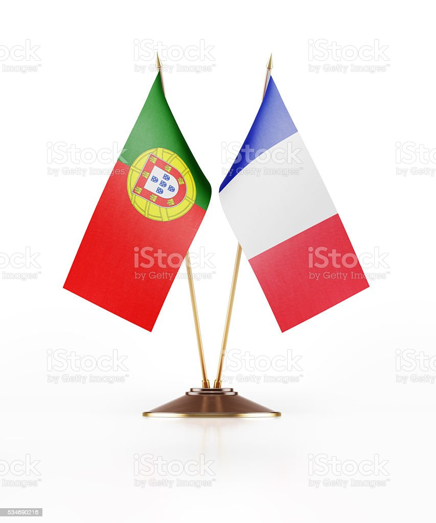 Miniature Flag of Portugal and France stock photo