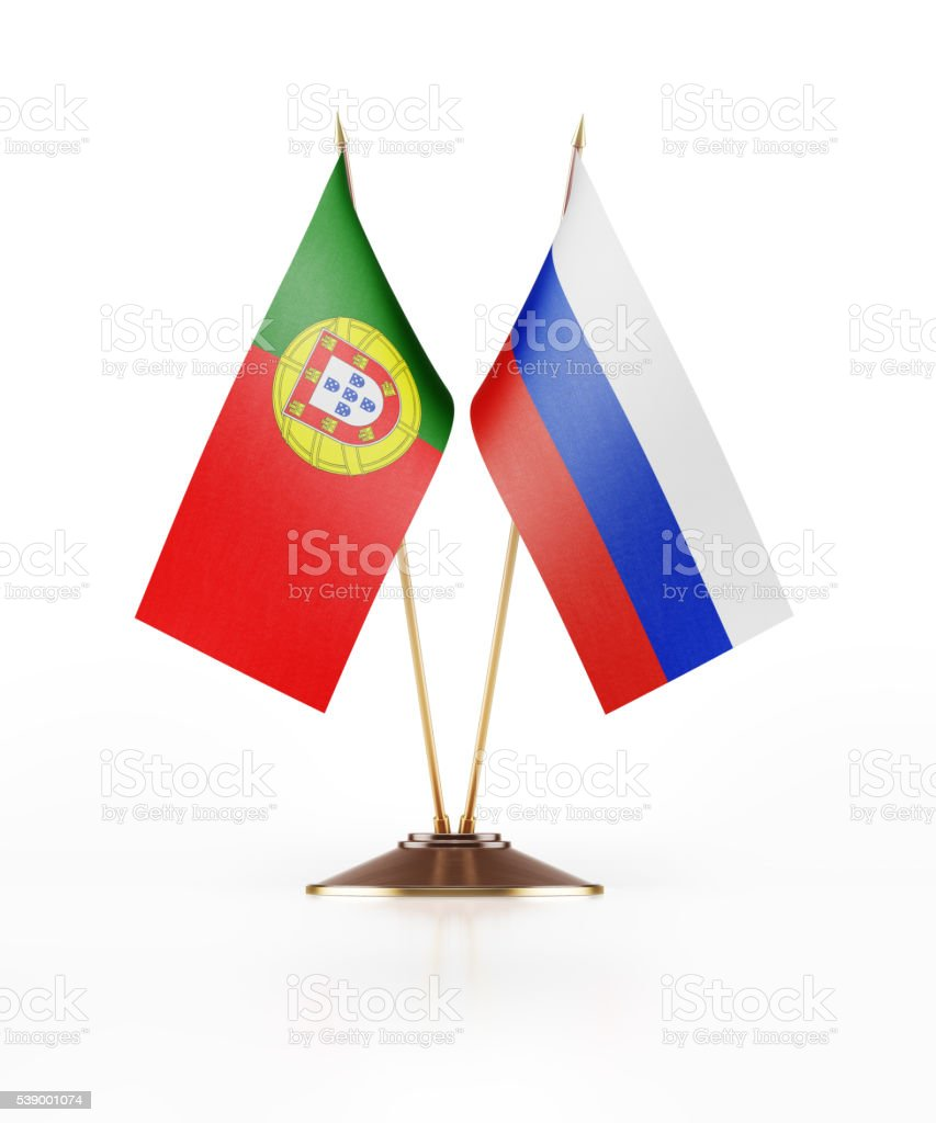 Miniature Flag of Portugal and Russia stock photo