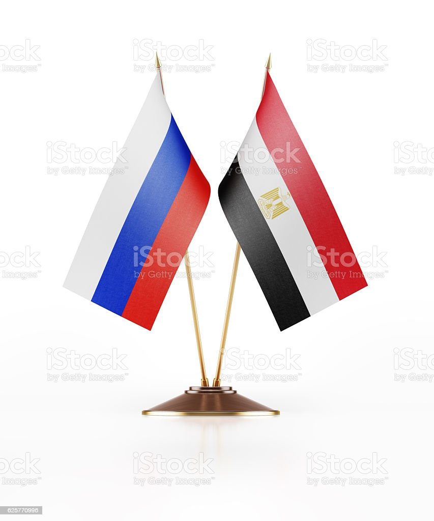 Miniature Flag  of Russia and Egypt stock photo