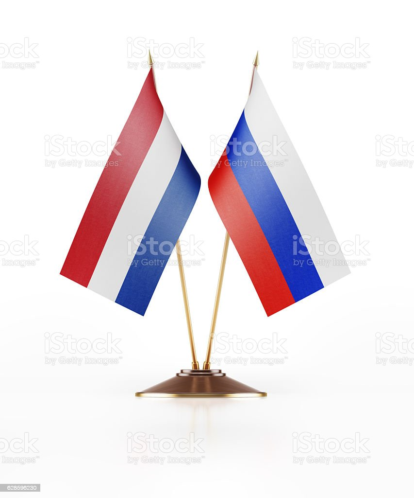 Miniature Flag  of Russia and Holland stock photo