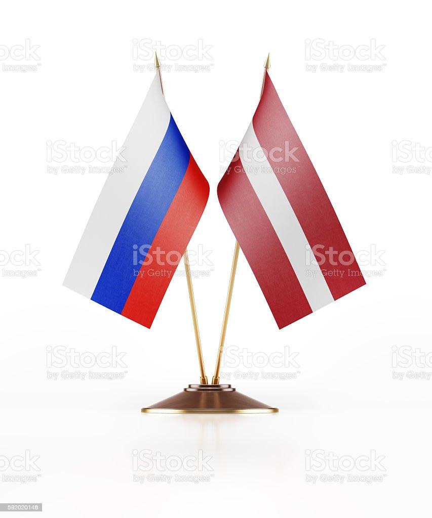 Miniature Flag of Russia and Latvia stock photo