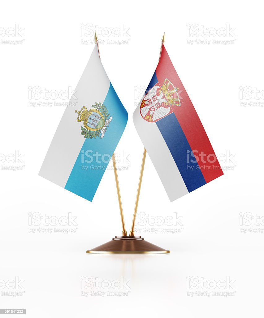 Miniature Flag of San Marino and Serbia stock photo