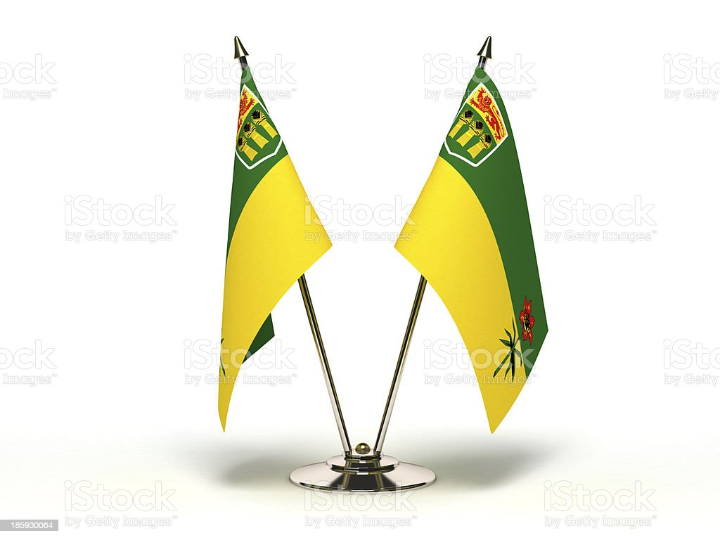 Miniature Flag of Saskatchewan stock photo