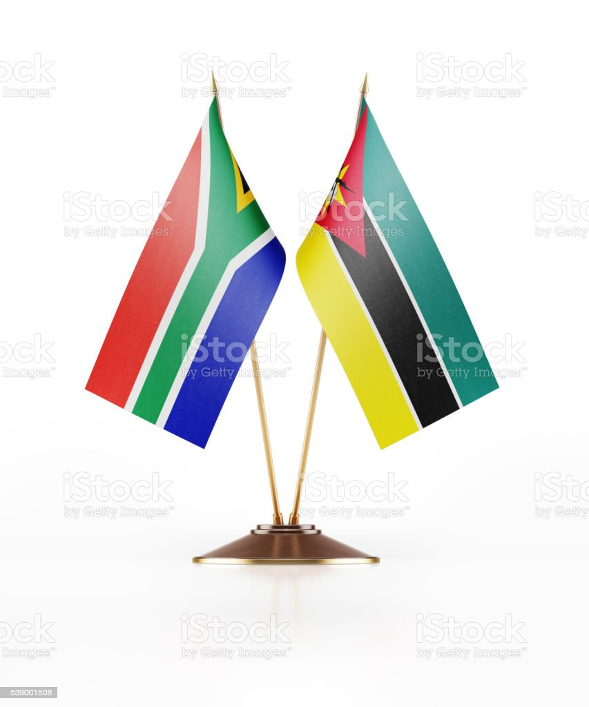 Miniature Flag of South Africa and Mozambique stock photo