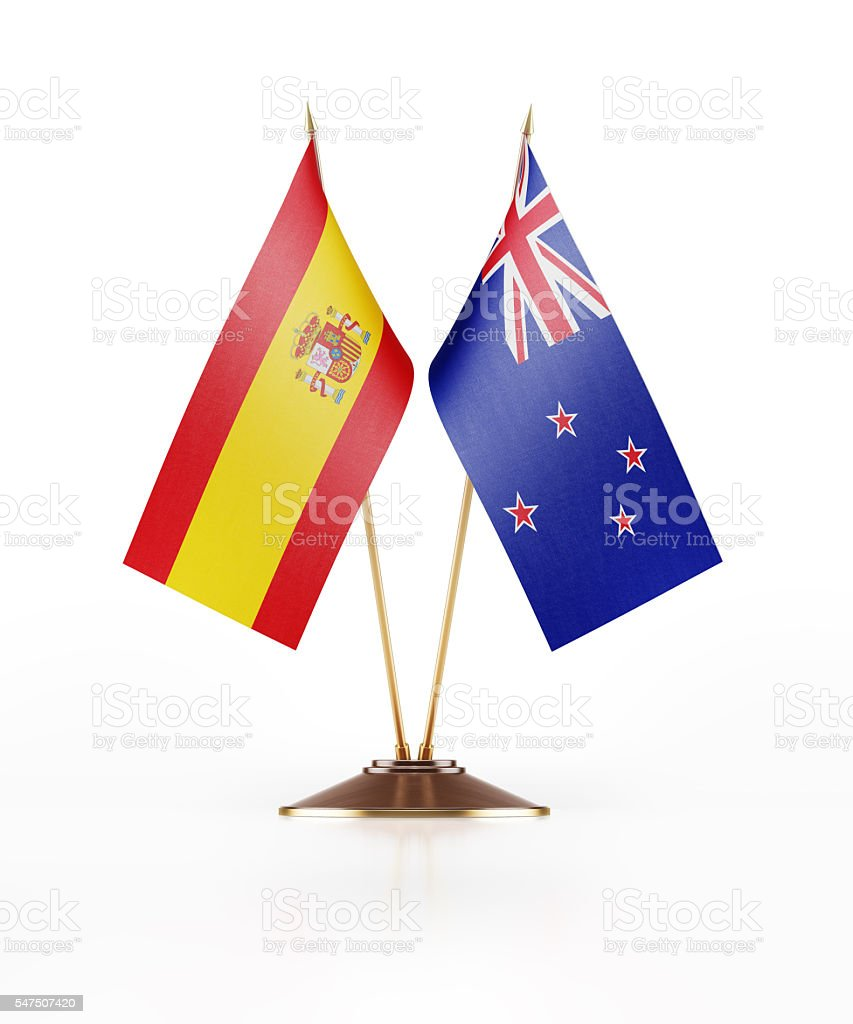 Miniature Flag of Spain and New Zealand stock photo