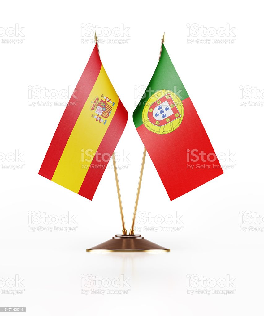 Miniature Flag of Spain and Portugal stock photo