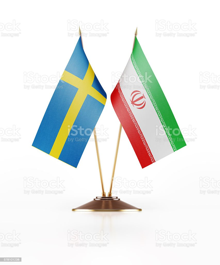 Miniature Flag of Sweden and Iran stock photo