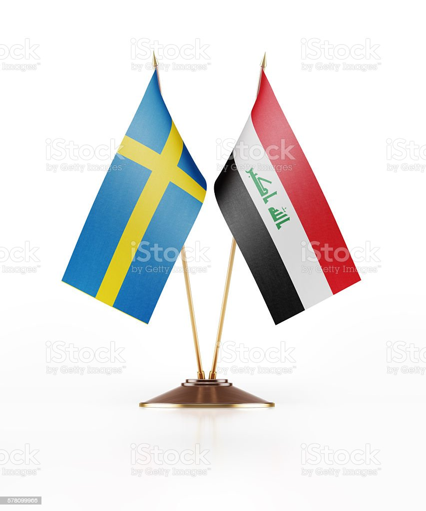 Miniature Flag of Sweden and Iraq stock photo