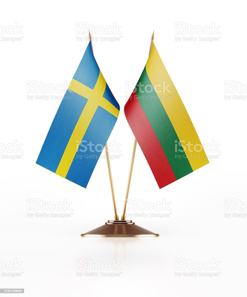 Miniature Flag of Sweden and Lithuania stock photo