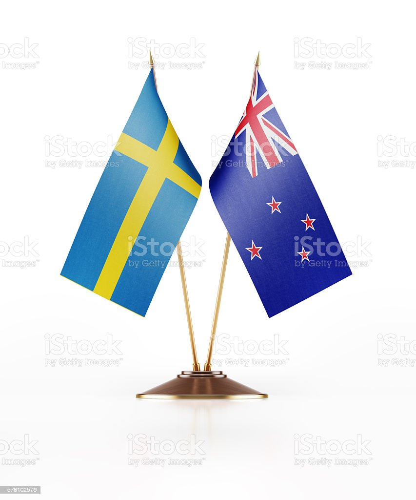 Miniature Flag of Sweden and New Zealand stock photo