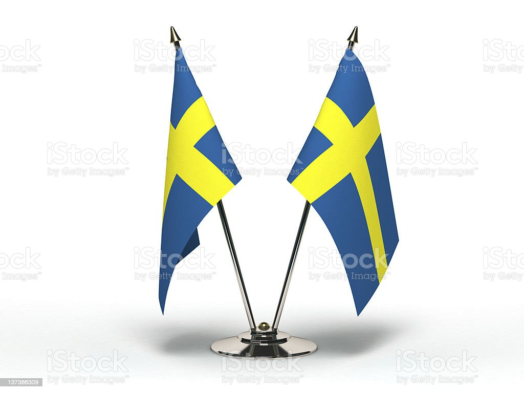 Miniature Flag of Sweden (Isolated) stock photo