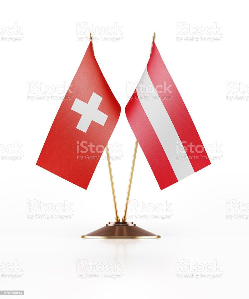 Miniature Flag of Switzerland and Austria stock photo
