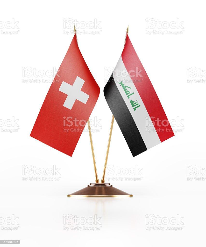 Miniature Flag of Switzerland and Iraq stock photo