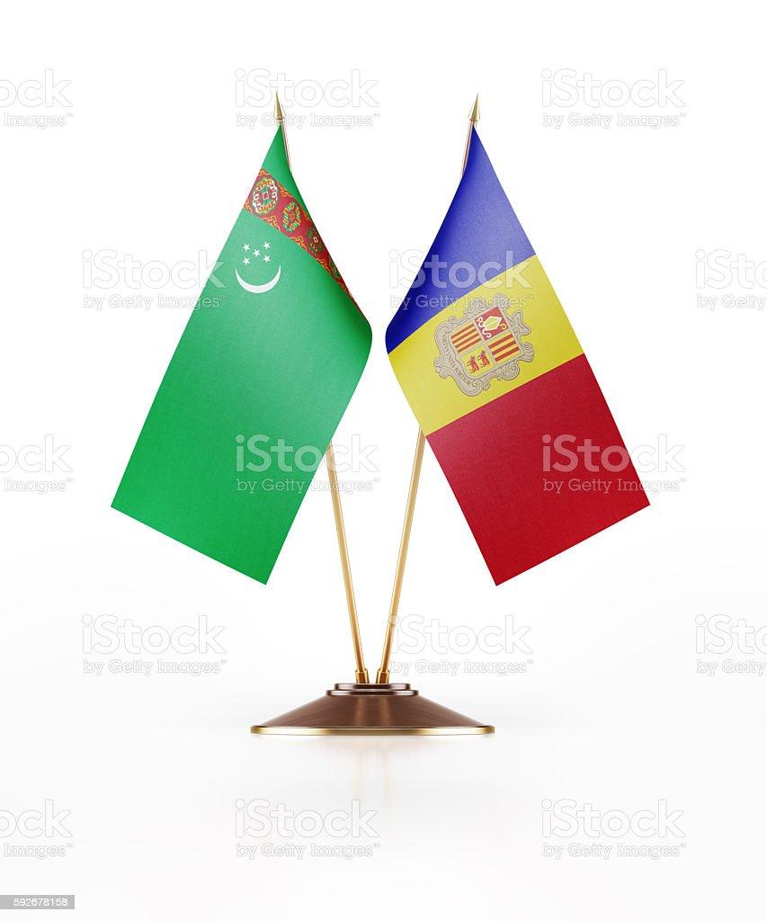 Miniature Flag of Turkmenistan and Andorra stock photo