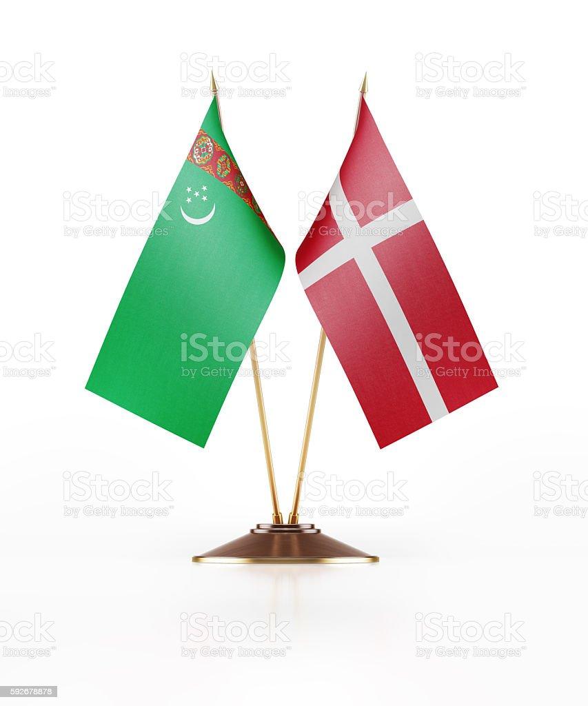 Miniature Flag of Turkmenistan and Denmark stock photo