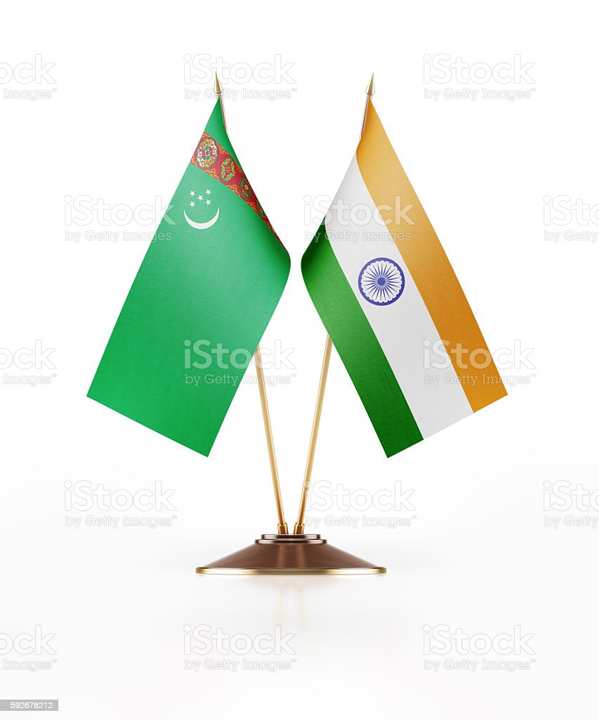 Miniature Flag of Turkmenistan and India stock photo
