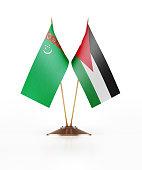 Miniature Flag of Turkmenistan and Jordan