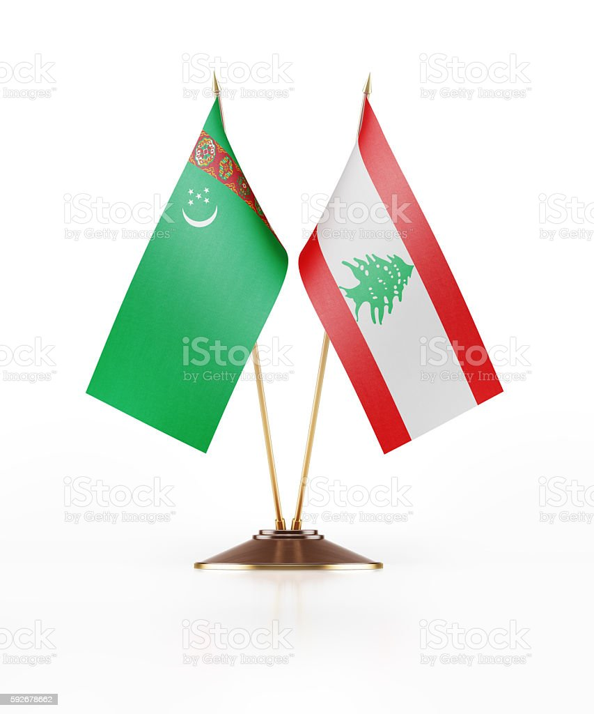 Miniature Flag of Turkmenistan and Lebanon stock photo