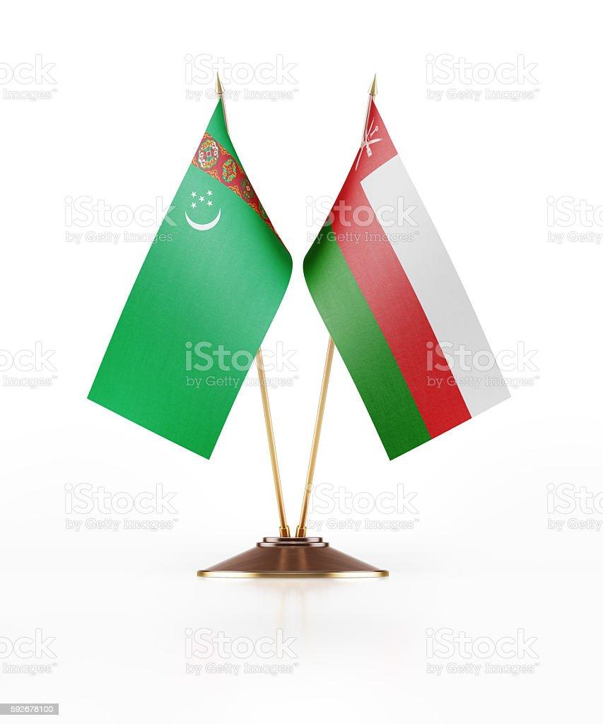 Miniature Flag of Turkmenistan and Oman stock photo